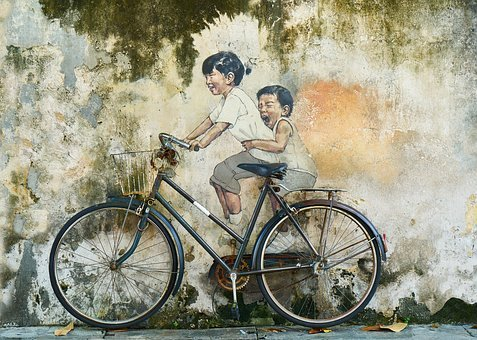 Bicycle, Children, Graffiti, Art
