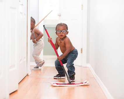 Kid, Child, Boy, Mopping, Jeans, Wooden